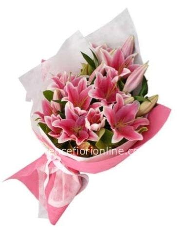 Mazzo Di Fiori A Domicilio.Mazzo Di Lilium Colore Rosa Fiorista Consegna Fiori E Piante A