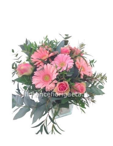 Mazzo Di Fiori A Domicilio.Bouquet Di Gerbere E Rose Rosa Fiorista Consegna Fiori E Piante